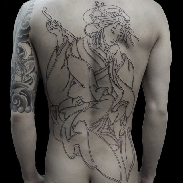 Geisha fullback outline tattoo