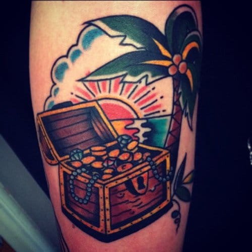 Treasure Chest Tattoo by Mikael Harrstedt