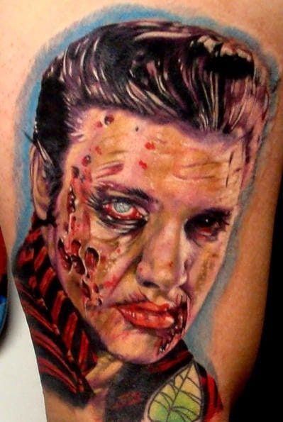 Zombie Elvis Tattoo by Ron Russo