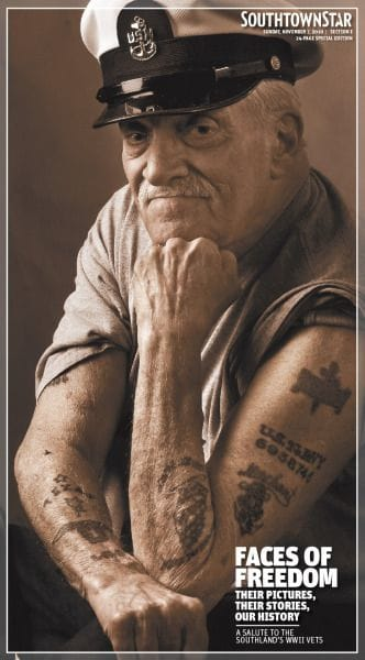 This WWII Veteran shows off his tattoos.