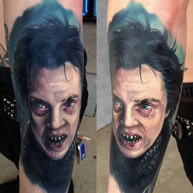 The Hessian as imagined by Tim Burton, tattooed by Paul Acker.