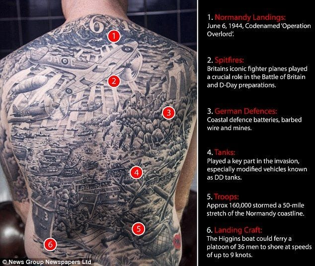 This amazing backpiece shows the different times of the war.
