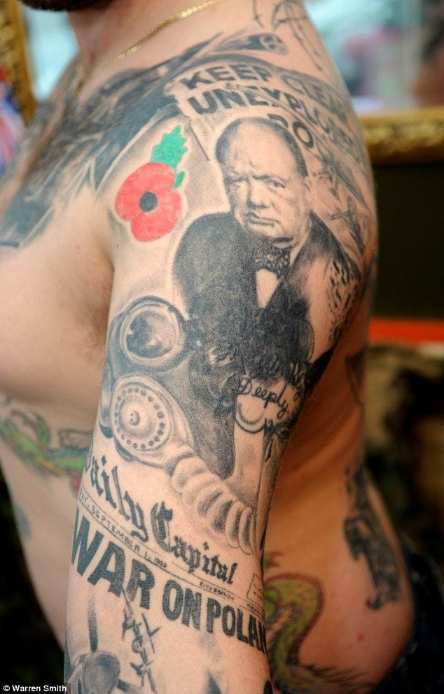 This guy has got all the history of WWII tattooed in his body.