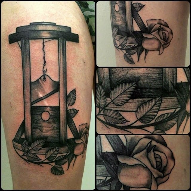 Floral Guillotine Tattoo by Alice Totemica