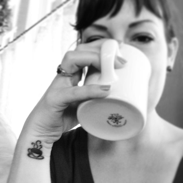 Then again coffee is just as fantastic when you're alone. Found on Pinterest.com. #femininetattoo #femininetattoos