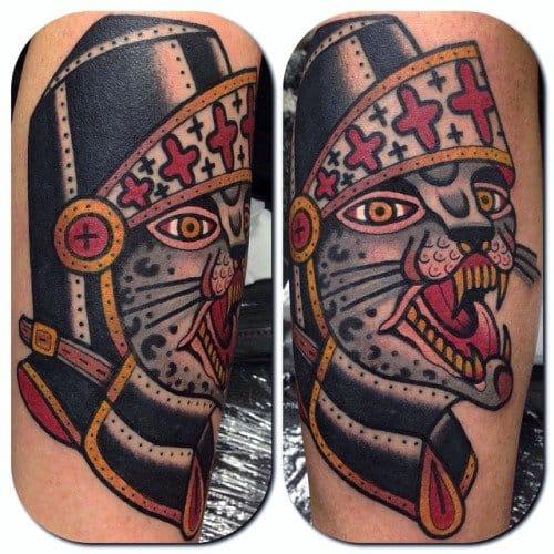 Knight Cat Tattoo by Francesco Garbuggino