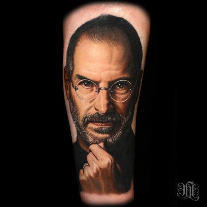 Steve Jobs portrait tattoo