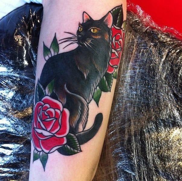 Traditional cat tattoo