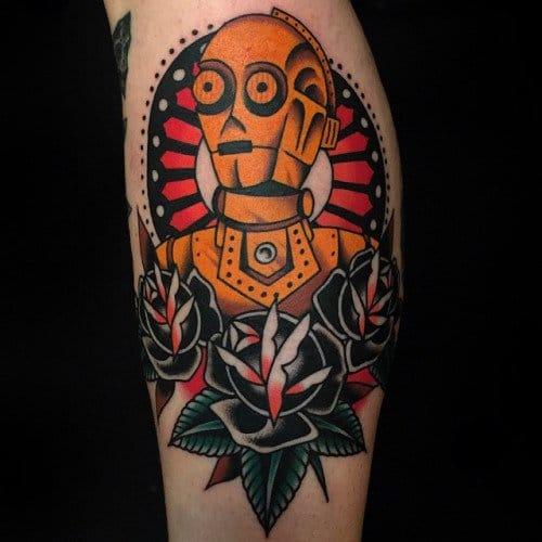 Old school C3PO tattoo by Austin Maples #starwars #c3po #AustinMaples