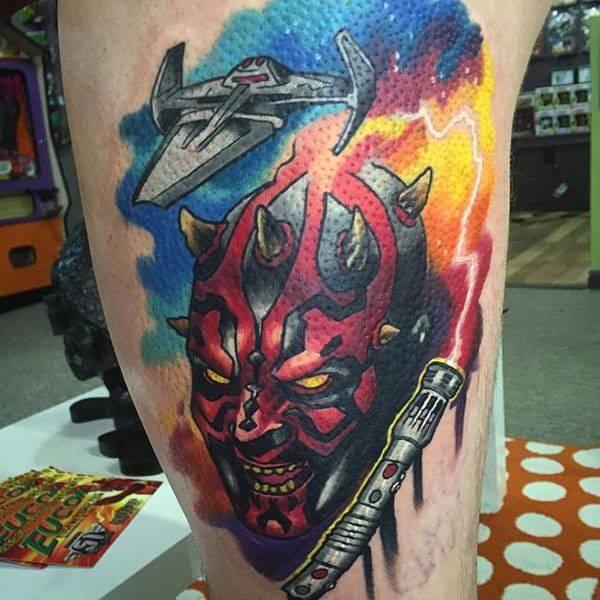 Badass Darth Maul Tattoo by Jeffrey Wortham #darthmaul #JeffreyWortham #starwars #starwarstattoo