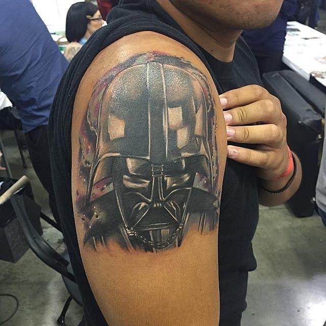 Star Wars tattoo. Unknown artist #starwars #starwarstattoo #helmet