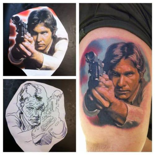 Brilliant Han Solo Tattoo by Zsolt Gömöri #hansolo #ZsoltGomori #starwars #starwarstattoo