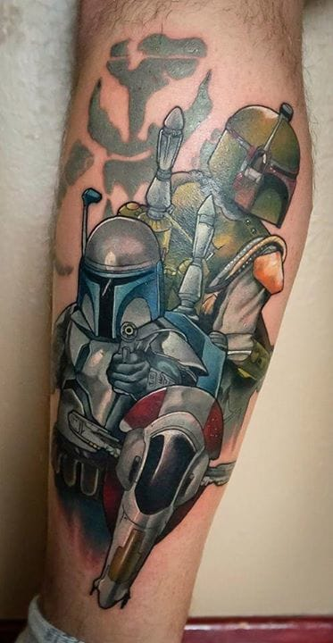 Jango and Boba Fett. Starwars tattoo by Dan Stone (aka Scribblyhead) #jango #bobafett #starwars #starwarstattoo