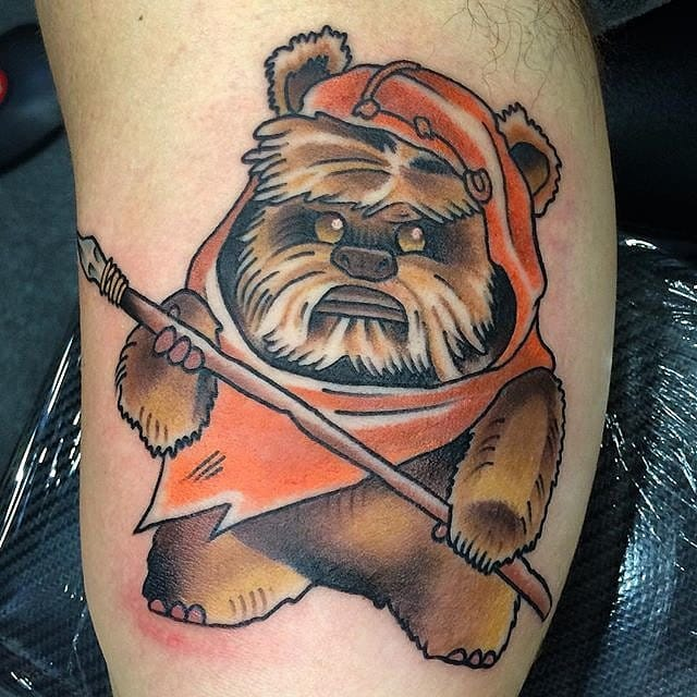 Adorable Ewok Tattoo by J Wood #ewok #starwars #starwarstattoo #Jwood