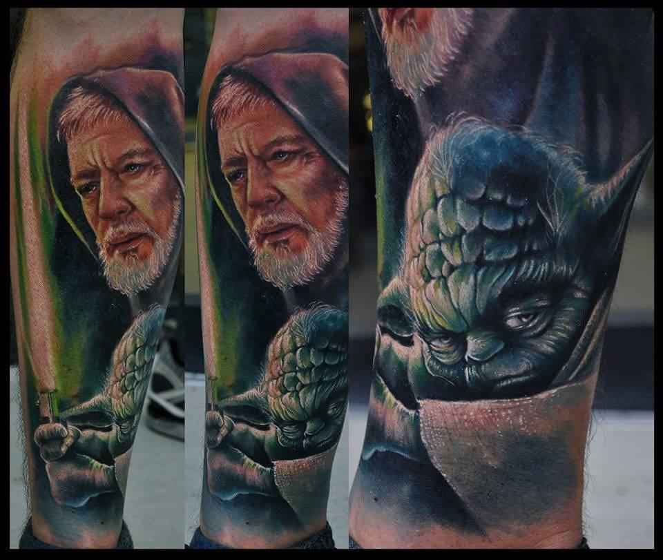 Stunning Obi-Wan and Yoda Tattoo by Chad Chase #obiwan #yoda #starwars #ChadChase
