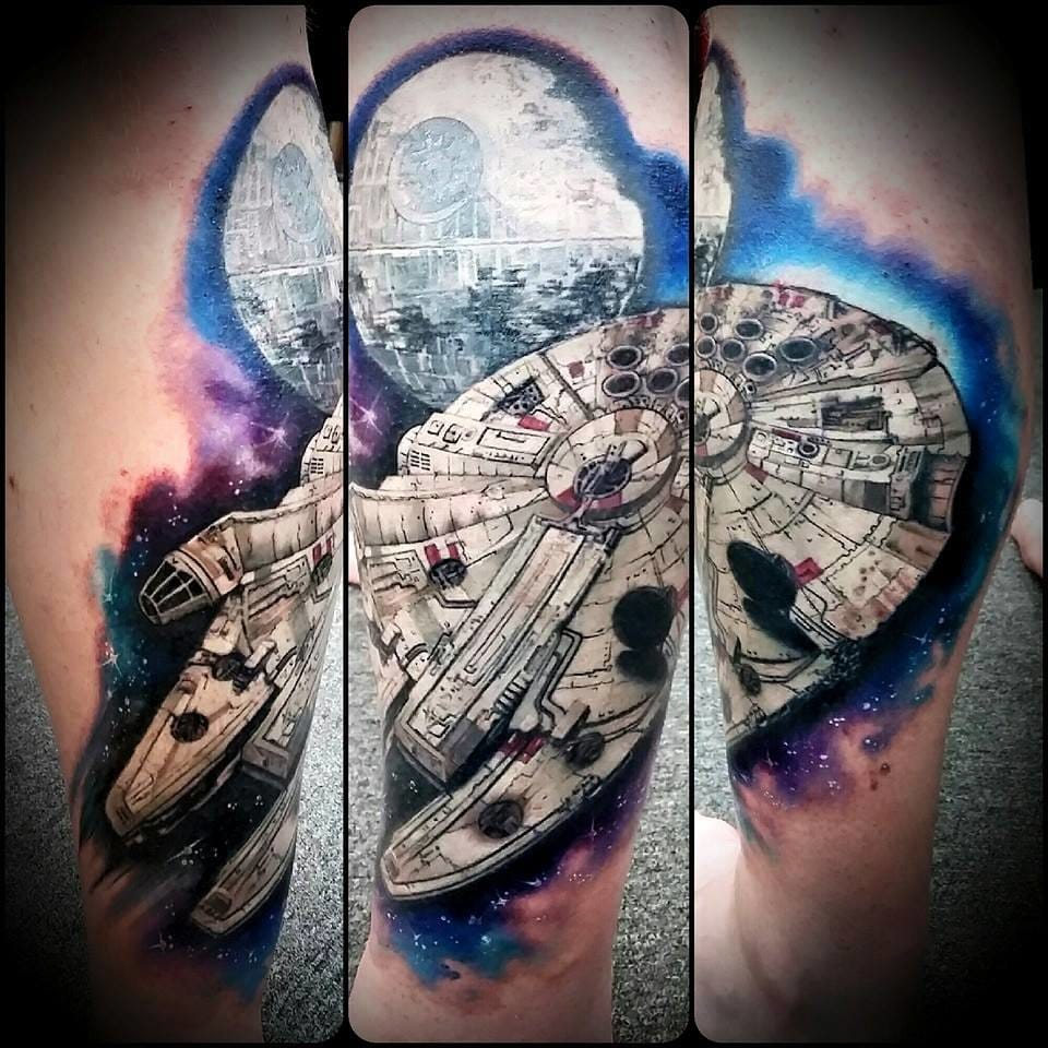 Outstanding Millennium Falcon Tattoo by Chris Toler #milleniumfalcon #starwars #christoler
