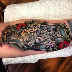 Millennium Falcon Bottle Tattoo by Polly Sands #starwars #pollysands