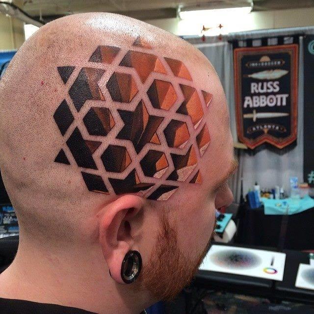 Geometric tattoos create insane illusions- Madness by Russ Abbott.... OMG he's got a hollow head! #geometric #geometry #lines #linework #head