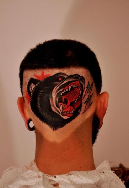 Neo traditonal bear by Raw tattoo.
