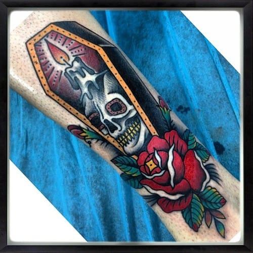20 Eerie Coffin Tattoos