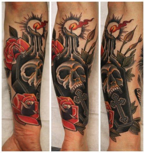 Inspired Coffin Candle Tattoo by Johan Ankarfyr