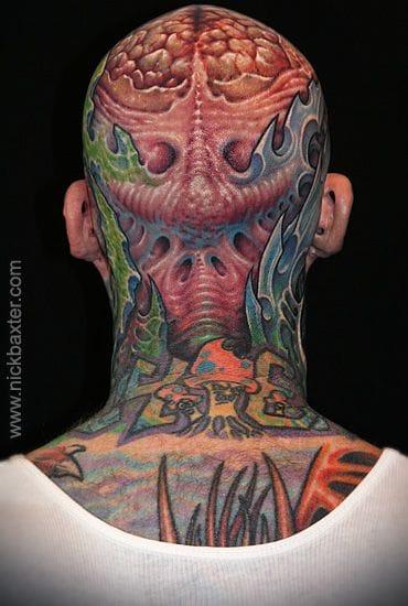 Biomechanical tattoo by Nick Baxter.