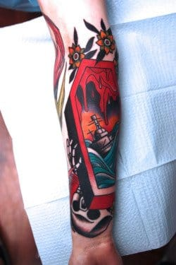 Fantastic Coffin Tattoo by Jimmy Duvall
