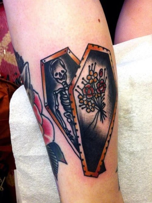 Old School Coffin Tattoo by Lewis Mckechnie