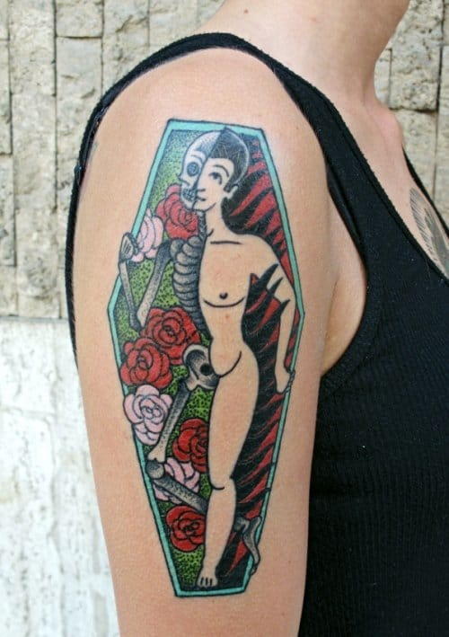 Life and Death Coffin Tattoo by Luca Font