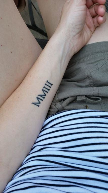 """""""Roman numerals of the year my son was born."""" — Mandy F. from Attleboro, Massachusetts"""