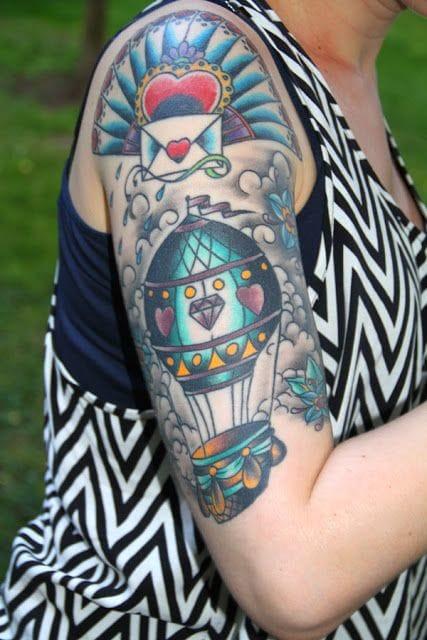 Vintage sleeve by Sascha of Frankfurt Tattoo.