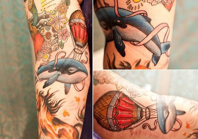Have you ever dream to see a flying whale ? Tattoo by Ryan Mason.