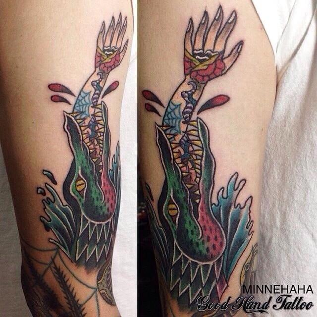 Crazy arm tattoo, Minnehaha, Good Hand tattoo