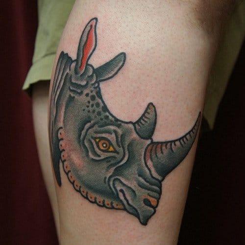 Traditional Rhino Tattoo by Dane Mancini