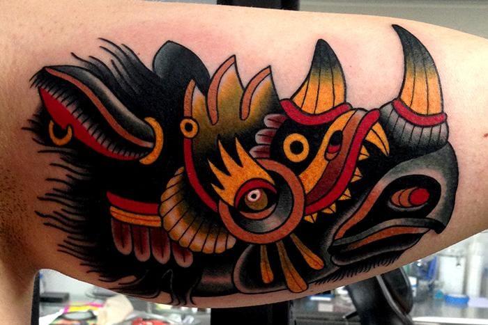 Awesome Rhino Tattoo by Jonathan Montalvo