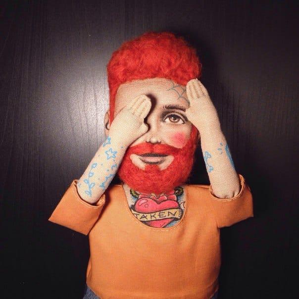 A male tattooed doll, by Kristina Tselykovskaya.