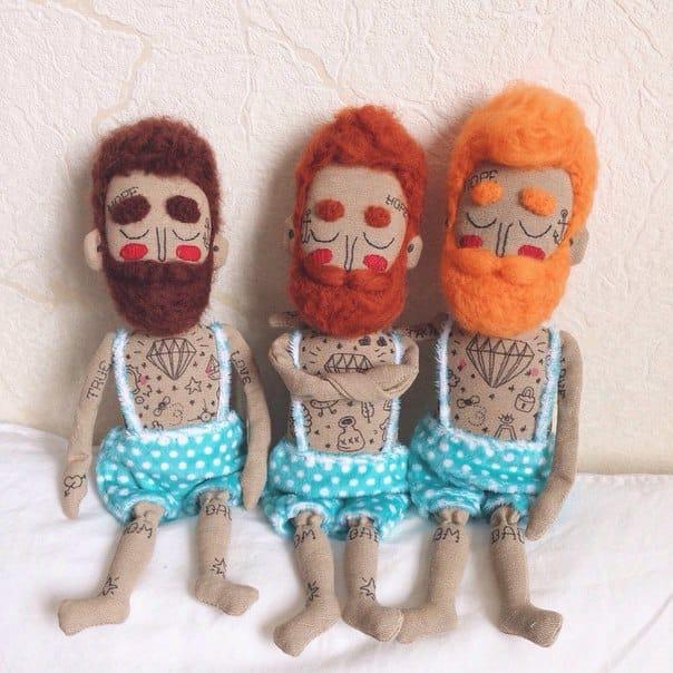 Three matching tattoo dolls - I love their beards!
