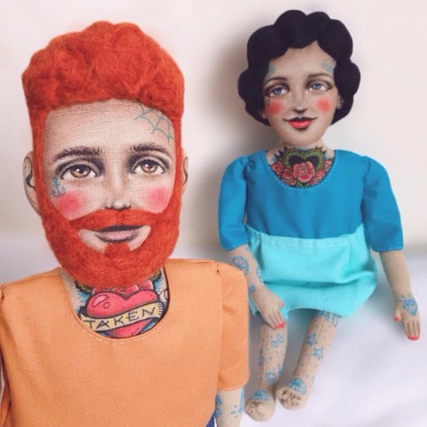 Couple tattooed dolls, that Kristina Tselykovskaya made bespoke for these two people.