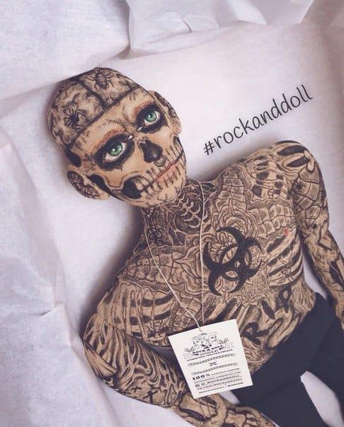 Canadian tattooed model, Zombie Boy, in mini tattooed doll form!