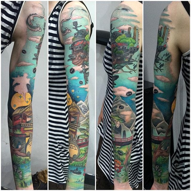 A full and fantastic Miyazaki sleeve by Becci Boo...