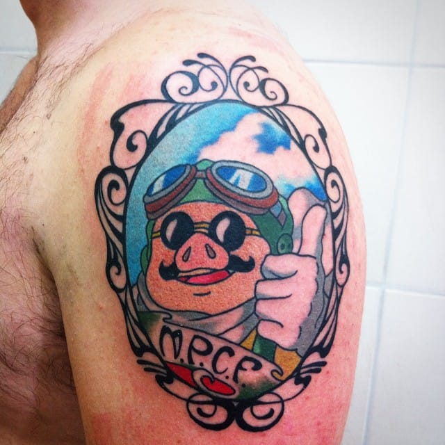 Cool Porco Rosso tattoo by Fabio Stazi.