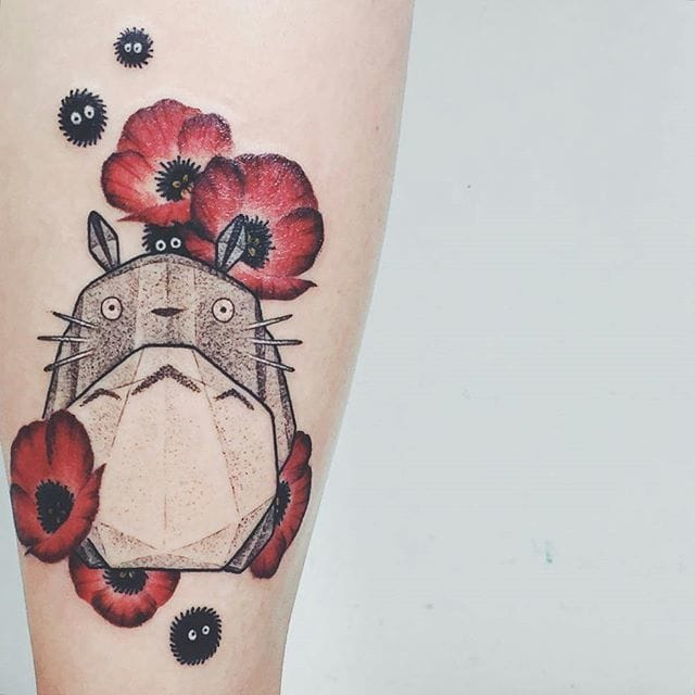 15 irresistible my neighbor totoro tattoos tattoodo. Black Bedroom Furniture Sets. Home Design Ideas