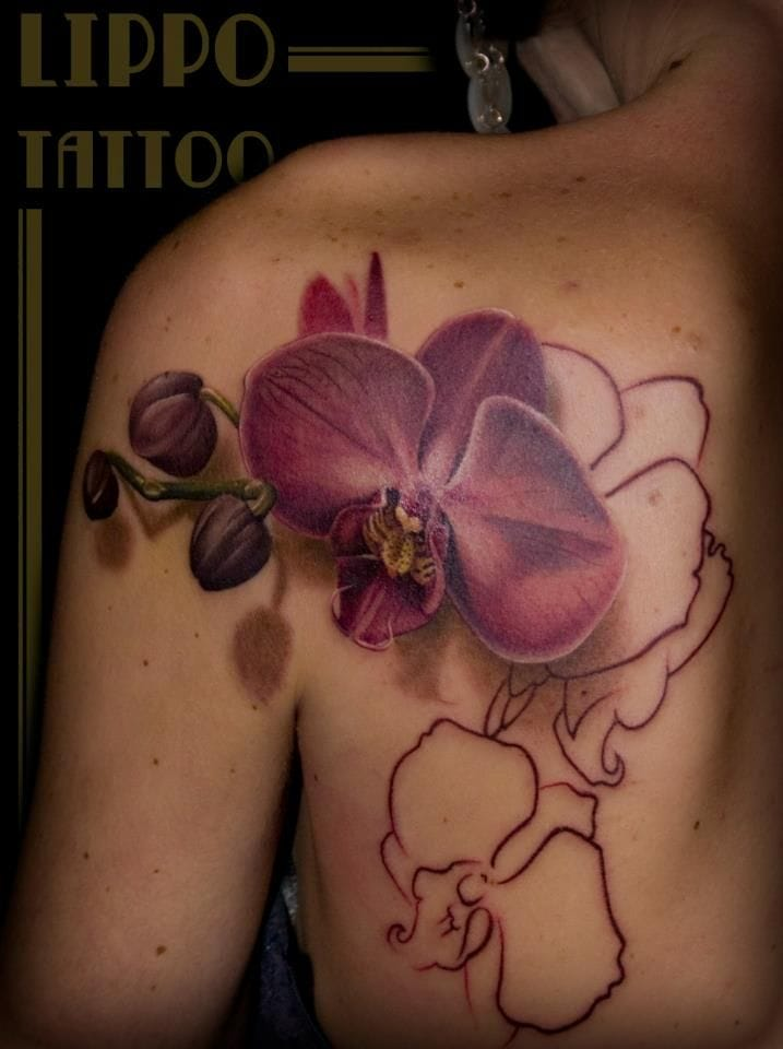 Work in progress on this 3D orchid tattoo by Lippo...