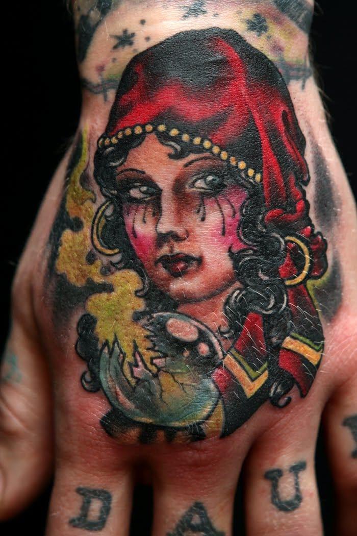 Gorgeous Fortune Teller Hand Tattoo, artist unknown
