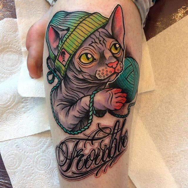 Cute Sphinx cat tattoo