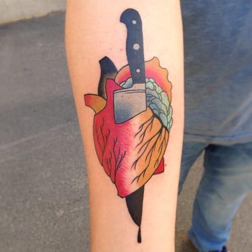 Knife Heart Tattoo by Marcus Nordebäck