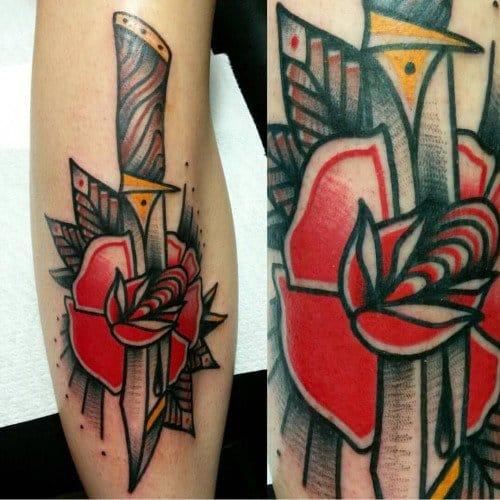 Old School Inspired Knife Tattoo by Jeroen van Dijk