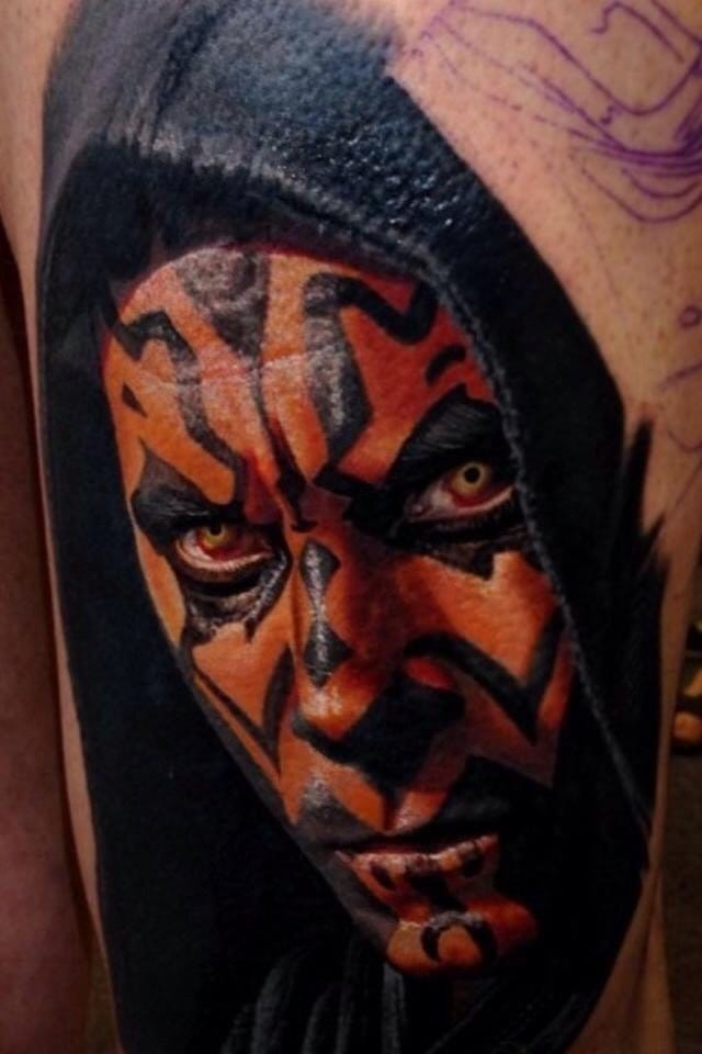 An awesome portrait of Darth Maul done by Nikko Hurtado