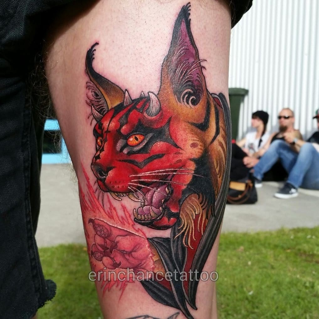 An ultra cool cat Darth Maul tattoo! Check out the details on this one!