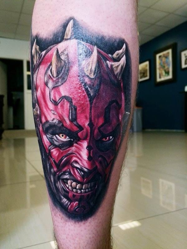 Maul without the hood on, showing off his horns. This calf piece looks so sick, especially with the tattooers use of white on the face and teeth!